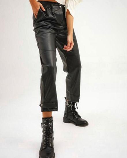 Çıt Çıt Detaylı Deri Pantolon resmi
