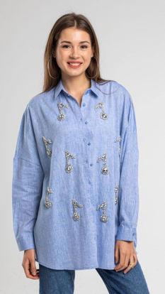 Taşlı Keten Gömlek resmi
