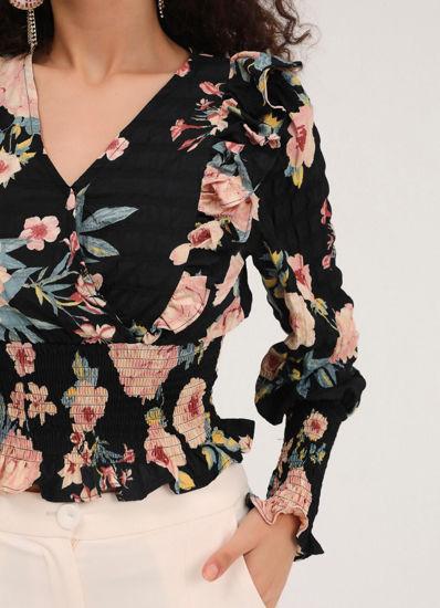 Çiçek Desenli Bluz Siyah resmi