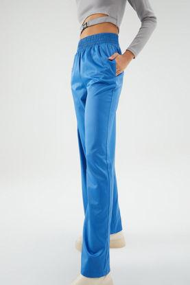 Beli Lastikli Saten Pantolon Mavi resmi